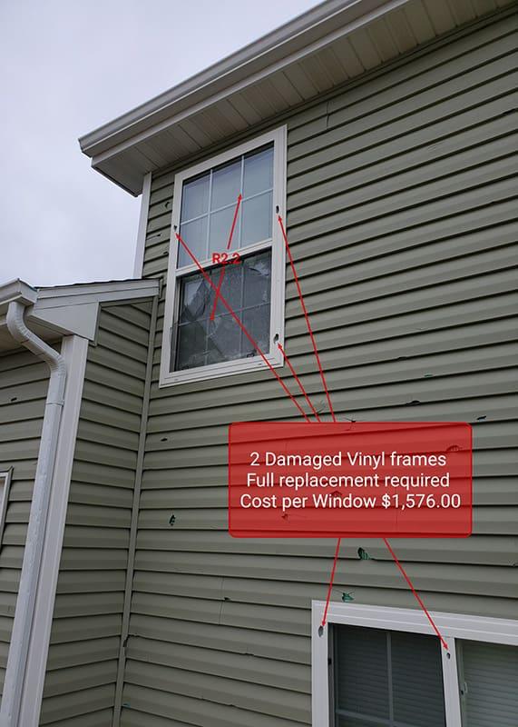Hail Storm Damage to windows Denver Colorado